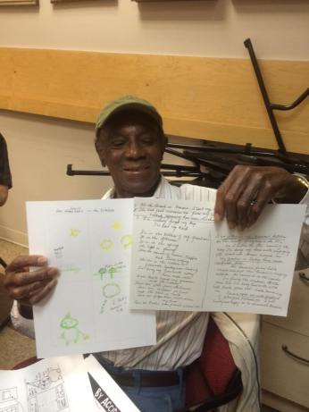 Writing and drawing comics at the Queens Center for Gay Seniors, 2016